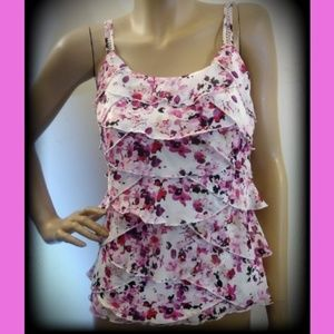 NWT WHBM Tiered Adjustable Strap Floral Blouse Top